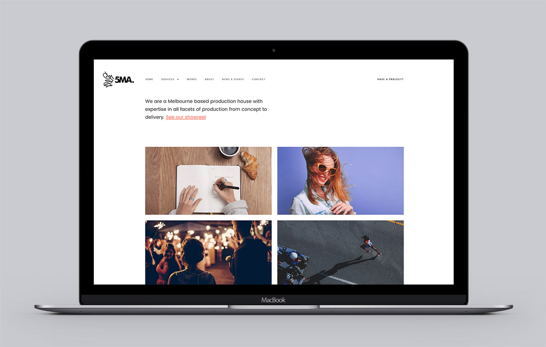 Responsive 5MA website mockup on an Macbook