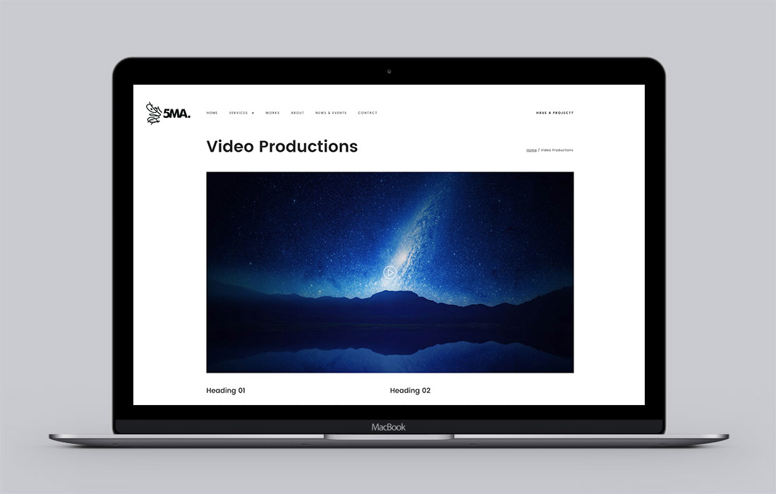 5MA website - video production page