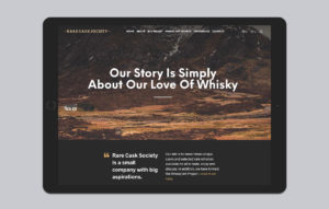 Rare Cask Society website design - our story iPad mockup