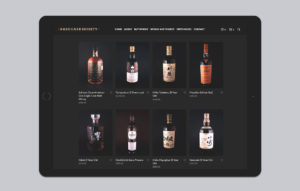 Rare Cask Society website design - featured products ipad mockup