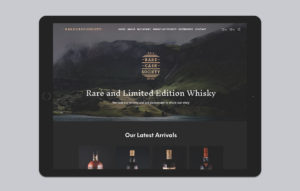 Rare Cask Society website design - homepage ipad mockup